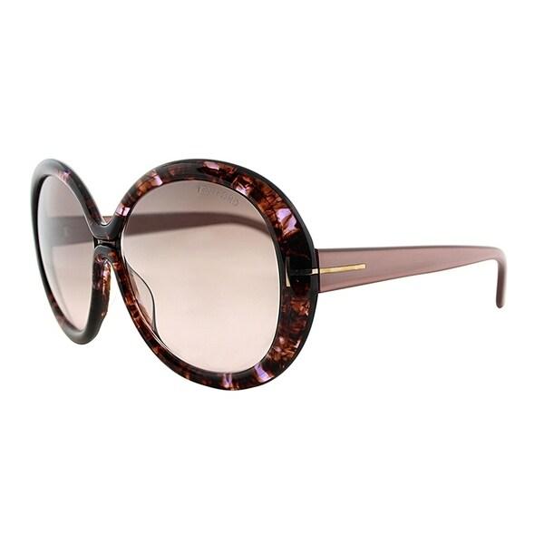 1110faf1d008d Tom Ford Round TF 388F Gisella Asian Fit 50F Unisex Pink Havana Frame Brown  Gradient Lens