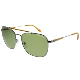 bf2d13c54563 Tom Ford Aviator TF 377 Edward 14N Unisex Gunmetal Frame Green Lens  Sunglasses