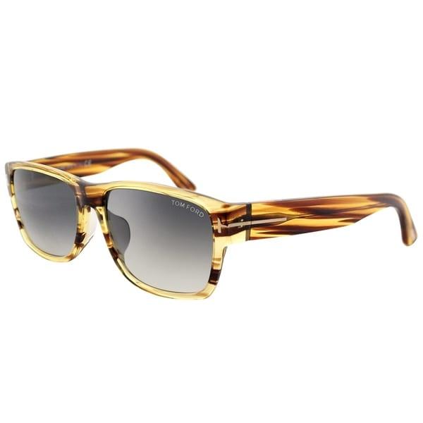 44edfc70c43 Tom Ford Rectangle TF 445 Mason 50B Unisex Dark Brown Striated Frame Grey  Gradient Lens Sunglasses