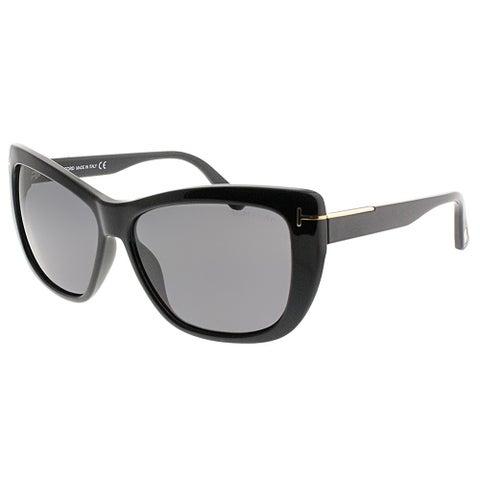 Tom Ford Cat-Eye FT 0434 Lindsay 01D Women Shiny Black Frame Grey Polarized Lens Sunglasses