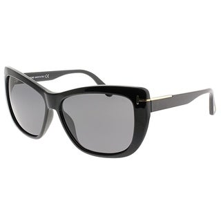 Tom Ford Cat-Eye FT 0434 Lindsay 01D Women Shiny Black Frame Grey Polarized Lens Sunglasses