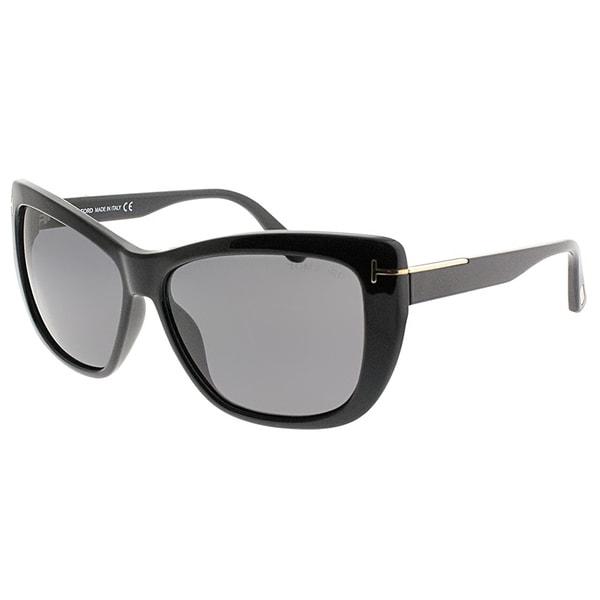 Shop Tom Ford Cat-Eye FT 0434 Lindsay 01D Women Shiny Black Frame ...
