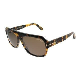 Tom Ford Square TF 465 Omar 56J Unisex Havana Frame Brown Lens Sunglasses