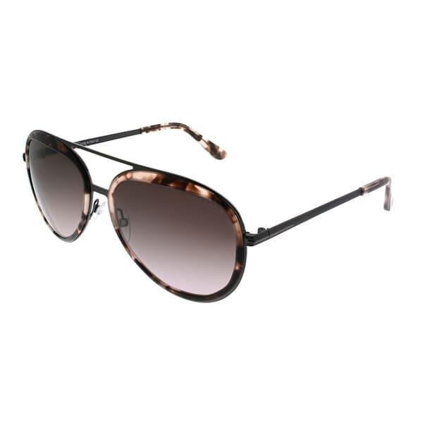 f4db6b8c1d80 Tom Ford Aviator TF 468 Andy 56Z Unisex Pink Havana Frame Brown Gradient  Lens Sunglasses