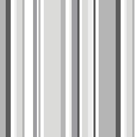 Manhattan Comfort Arlington 32.7 Ft. x 20.5 In. Vinyl Charcoal Multi Striped Wallpaper Covering