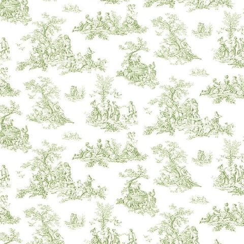 Manhattan Comfort Tampa 32.7 Ft. x 20.5 In. Vinyl Green Country Toile Wallpaper Covering