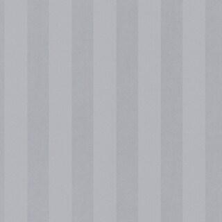 "Manhattan Comfort McKinney 32.7 Ft. x 20.5 In. Vinyl Silver 1"" Striped Wallpaper Covering"