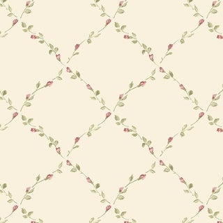 Manhattan Comfort Fort Myers 32.7 Ft. x 20.5 In. Vinyl Dark Pink Floral Trellis Wallpaper Covering