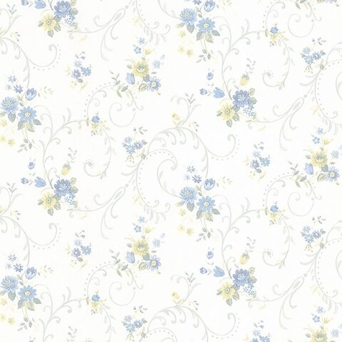 Manhattan Comfort Orlando 32.7 Ft. x 20.5 In. Vinyl Blue Floral Scroll Wallpaper Covering