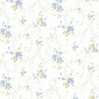 Manhattan Comfort Orlando 32.7 Ft. x 20.5 In. Vinyl Blue Floral Scroll Wallpaper Covering