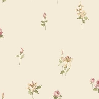 Manhattan Comfort Tamarac 32.7 Ft. x 20.5 In. Vinyl Cream Floral Spot Wallpaper Covering