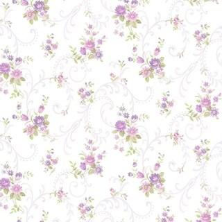 Manhattan Comfort Sarasota 32.7 Ft. x 20.5 In. Vinyl Purple Floral Scroll Wallpaper Covering