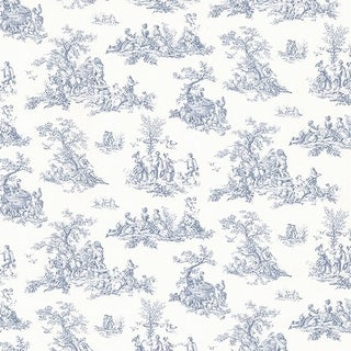 Manhattan Comfort Tampa 32.7 Ft. x 20.5 In. Vinyl Blue Country Toile Wallpaper Covering