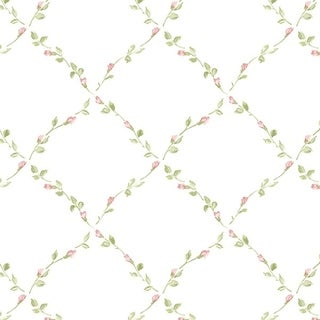 Manhattan Comfort Fort Myers 32.7 Ft. x 20.5 In. Vinyl Green Floral Trellis Wallpaper Covering