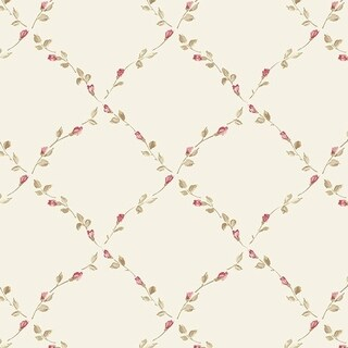 Manhattan Comfort Fort Myers 32.7 Ft. x 20.5 In. Vinyl Pink Floral Trellis Wallpaper Covering