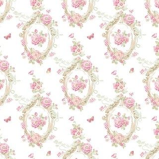 Manhattan Comfort Doral 32.7 Ft. x 20.5 In. Vinyl Linght Pink Butterfly Cameo Wallpaper Covering