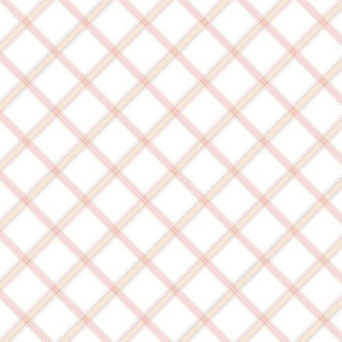 Manhattan Comfort Clermont 32.7 Ft. x 20.5 In. Vinyl Pink Plaid Wallpaper Covering