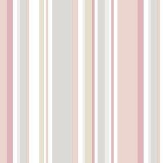 Manhattan Comfort Arlington 32.7 Ft. x 20.5 In. Vinyl Pink Multi Striped Wallpaper Covering