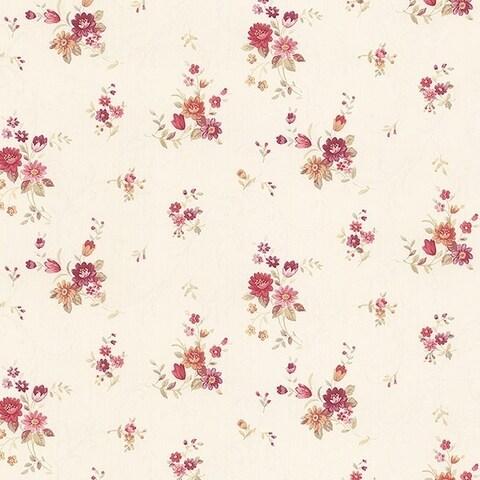 Manhattan Comfort Orlando 32.7 Ft. x 20.5 In. Vinyl Pink Floral Scroll Wallpaper Covering