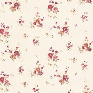 Manhattan Comfort Orlando 32.7 Ft. x 20.5 In. Vinyl Pink Floral Scroll Wallpaper Covering