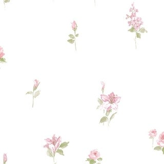 Manhattan Comfort Tamarac 32.7 Ft. x 20.5 In. Vinyl Pink Floral Spot Wallpaper Covering