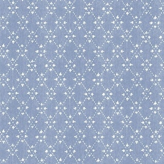 Manhattan Comfort Lakeland 32.7 Ft. x 20.5 In. Vinyl Blue Spot Trellis Wallpaper Covering