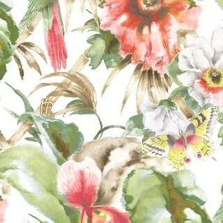 Manhattan Comfort Hazleton 32.7 Ft. x 20.5 In. Vinyl Red Birds Of Paradise Wallpaper Wallpaper Covering