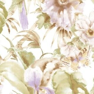 Manhattan Comfort Hazleton 32.7 Ft. x 20.5 In. Vinyl Purple Birds Of Paradise Wallpaper Wallpaper Covering