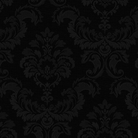 Manhattan Comfort Hyattsville 32.7 Ft. x 20.5 In. Vinyl Black Silk Damask Wallpaper Covering