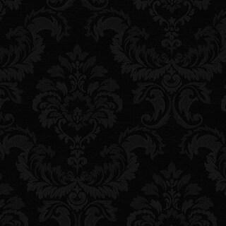 Manhattan Comfort Hyattsville 32.7 Ft. x 20.5 In. Vinyl Black Silk Damask Wallpaper Covering