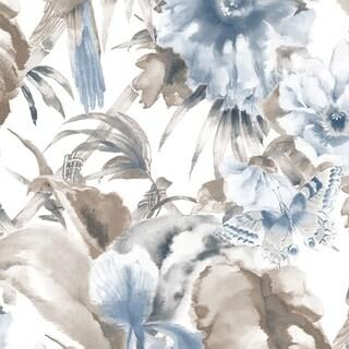 Manhattan Comfort Hazleton 32.7 Ft. x 20.5 In. Vinyl Blue Birds Of Paradise Wallpaper Wallpaper Covering