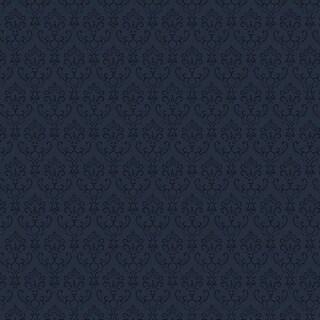 Manhattan Comfort Cambridge 32.7 Ft. x 20.5 In. Vinyl Navy Blue Small Damask Wallpaper Covering