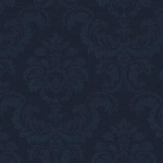 Manhattan Comfort Hyattsville 32.7 Ft. x 20.5 In. Vinyl Navy Blue Silk Damask Wallpaper Covering