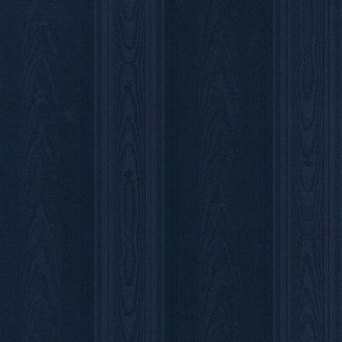Manhattan Comfort Aberdeen 32.7 Ft. x 20.5 In. Vinyl Navy Blue Silk Stripe Wallpaper Covering