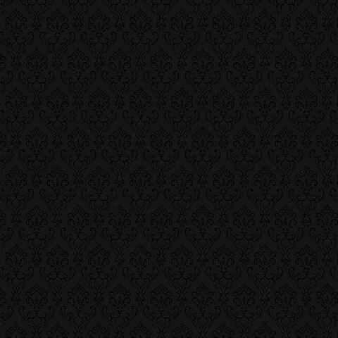 Manhattan Comfort Cambridge 32.7 Ft. x 20.5 In. Vinyl Black Small Damask Wallpaper Covering