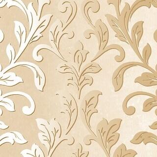 Manhattan Comfort Rockford 32.7 Ft. x 20.5 In. Vinyl Gold Damask Wallpaper Covering