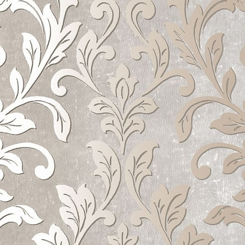 Manhattan Comfort Rockford 32.7 Ft. x 20.5 In. Vinyl Brown Damask Wallpaper Covering - 32.7 Ft. x 20.5 In.