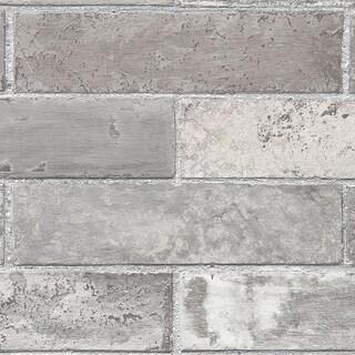 Manhattan Comfort Orland 32.7 Ft. x 20.5 In. Vinyl Grey Brick Texture Wallpaper Covering