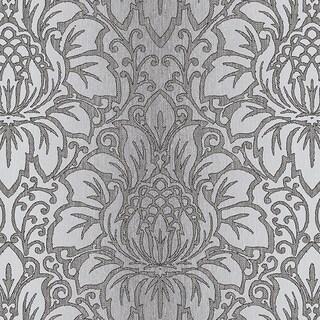 Manhattan Comfort Evanston 32.7 Ft. x 20.5 In. Vinyl Dark Grey Modern Damask Wallpaper Covering