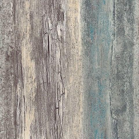 Manhattan Comfort Brockton 32.7 Ft. x 20.5 In. Vinyl Teal Birches Wallpaper Covering - 32.7 feet by 20.5 inch