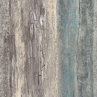 Manhattan Comfort Brockton 32.7 Ft. x 20.5 In. Vinyl Teal Birches Wallpaper Covering