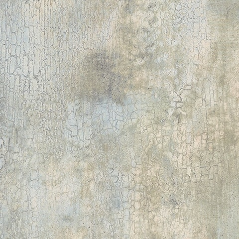 Manhattan Comfort Crystal 32.7 Ft. x 20.5 In. Vinyl Aqua Faux Crackle Wallpaper Covering - 32.7 Ft. x 20.5 In.