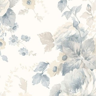 Manhattan Comfort Maryville 32.7 Ft. x 20.5 In. Vinyl Blue Peonies Wallpaper Covering