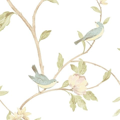 Manhattan Comfort Chattanooga 32.7 Ft. x 20.5 In. Vinyl Yellow Birds and Trees Wallpaper Covering - 32.7 Ft. x 20.5 In.