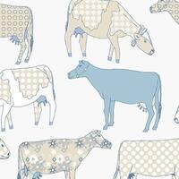 Manhattan Comfort Petersburg 32.7 Ft. x 20.5 In. Vinyl Blue Cows Floral Toile Wallpaper Covering