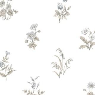 Manhattan Comfort Salem 32.7 Ft. x 20.5 In. Vinyl Grey Floral Toile Wallpaper Covering