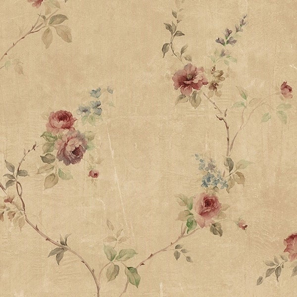 Manhattan Comfort Kingsport 32.7 Ft. x 20.5 In. Vinyl Tan Tiny Vine Roses Wallpaper Covering