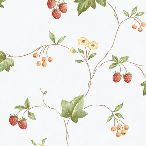 Manhattan Comfort Franklin 32.7 Ft. x 20.5 In. Vinyl Red Floral Trail Wallpaper Covering