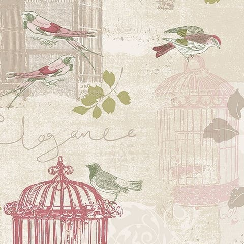 Manhattan Comfort Waynesboro 32.7 Ft. x 20.5 In. Vinyl Pink Birdcage Toile Kitchen Wallpaper Covering