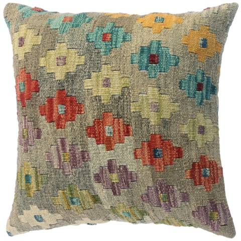 """Kilim Southwestern Faustino Gray/Rust Wool Throw Pillow Cover(18""""x18"""") - Grey/Multi-color"""
